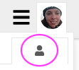 3 icons in an image, 2 on the top and one on the bottom. The first icon on the top is 3 horizontal lines stacked on top of each other, the second icon on the top is a profile picture of a woman. The bottom icon shows a grey person circled in pink.