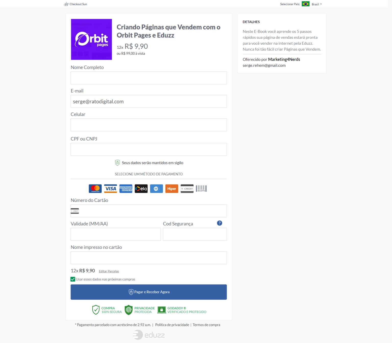 Sua página de venda já vem integrada ao Checkout Sun da Eduzz!